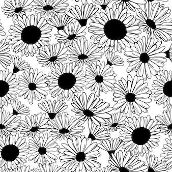 Modello senza cuciture con fiori bianchi neri girasoli margherite libro a colori in bianco e nero