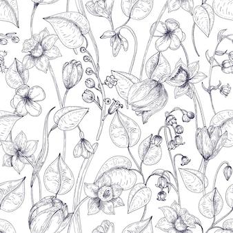 Modello senza saldatura con fioritura primaverile di fiori e foglie disegnati a mano con linee di contorno su bianco