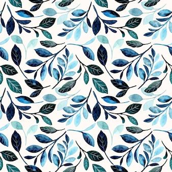 Modello senza cuciture con foglie blu acquerello