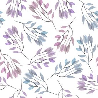 Modello senza cuciture con rami di acquerello blu e viola