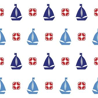 Modello senza cuciture con barche e salvagente. può essere utilizzato per sfondi, sfondi di pagine web. illustrazione vettoriale