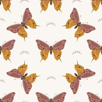 Modello senza cuciture con farfalla boho. insetto con elementi celesti.