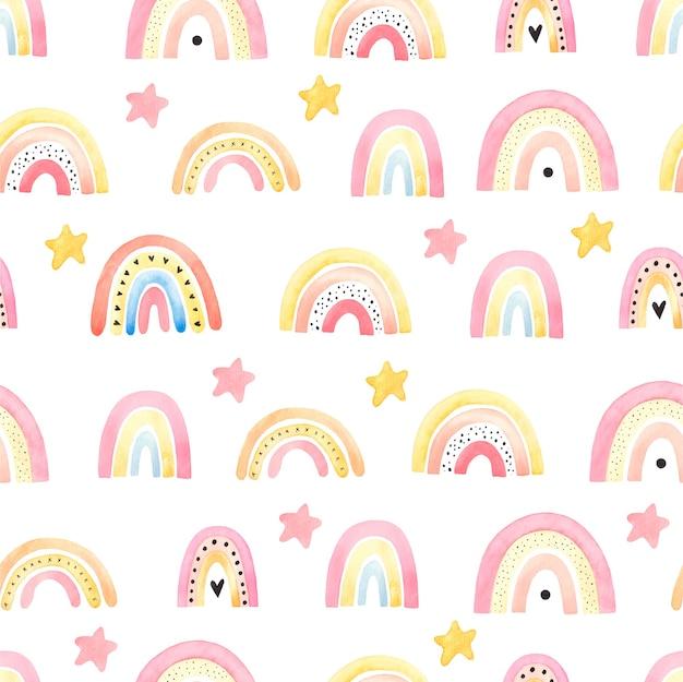 Modello senza cuciture con arcobaleni boho, illustrazione per bambini, decorazioni di cose per bambini