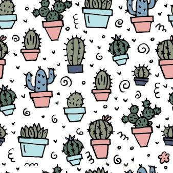 Modello senza cuciture con cactus brillante carino scarabocchio