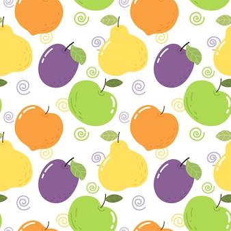 Motivo senza cuciture con frutti luminosi prugna pera mela pesca motivo luminoso per tessuto da parati