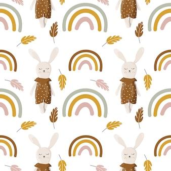 Seamless con coniglietto e arcobaleno.