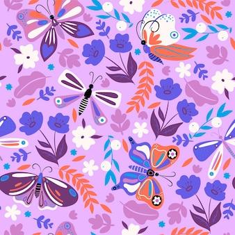 Modello senza cuciture con farfalle e fiori