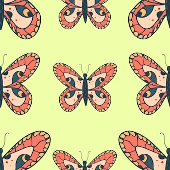 Motivo senza cuciture con farfalle su sfondo giallo