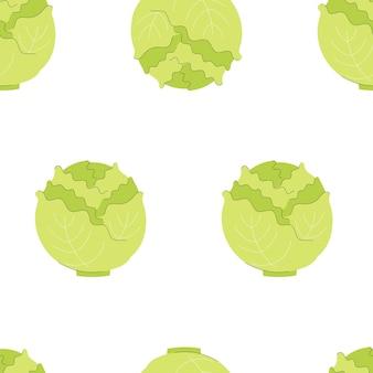 Modello senza cuciture con cavolo. verdure, vitamine, vegetarianismo. illustrazione in stile piatto su sfondo bianco.