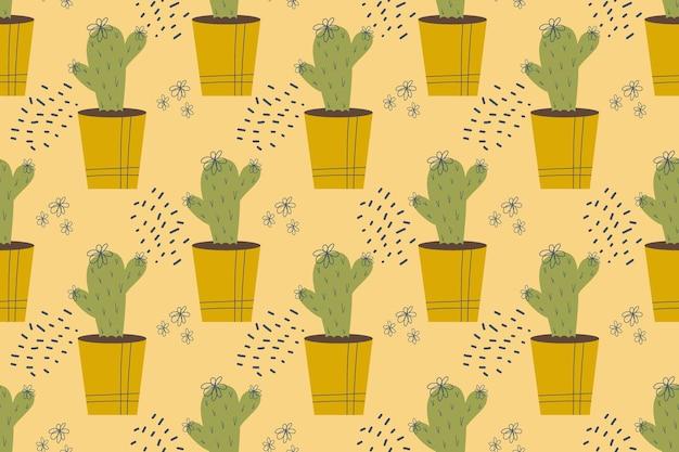 Modello senza cuciture con cactus cactus in una pianta domestica in vaso con spine aghi e fiori