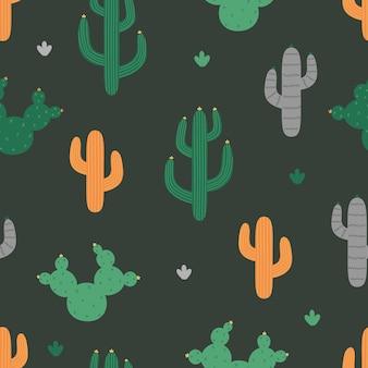 Modello senza cuciture con cactus cactus grigio verde arancio su sfondo scuro