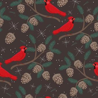Modello senza cuciture con coni e uccelli cardinali