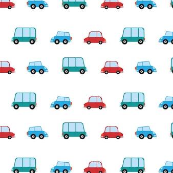 Modello senza cuciture con sfondo di auto dei cartoni animati. illustrazione vettoriale.