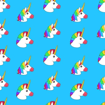 Modello senza cuciture con unicorno fata divertente del fumetto con taglio di capelli arcobaleno su sfondo blu