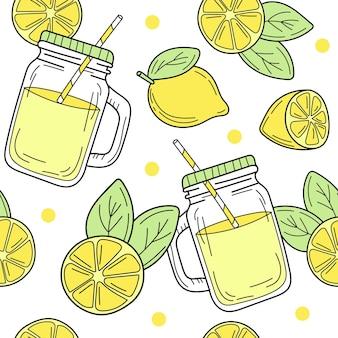 Modello senza cuciture con limoni dei cartoni animati e un barattolo di vetro con limonata