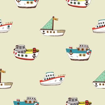 Modello senza cuciture con la nave dei cartoni animati. sfondo di disegno di carta da parati per la camera dei bambini.
