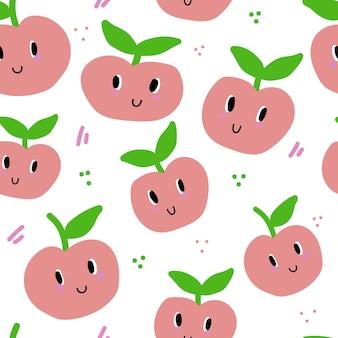 Modello senza cuciture con il sorriso dei cartoni animati di mele design colorato di frutta per bambini o tessuti da cucina