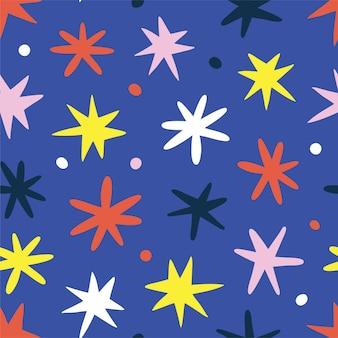 Modello senza cuciture con le stelle dei cartoni animati