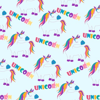 Modello senza cuciture con unicorni del fumetto, sfondo bianco con scritte per carta da parati. struttura del cavallo sveglio dell'illustrazione di vettore, interfaccia di progettazione.