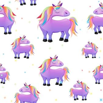 Modello senza cuciture con unicorni dei cartoni animati