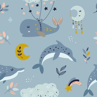 Modello senza cuciture con balena celeste e delfini