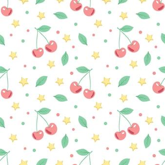 Seamless con ciliegie e stelle