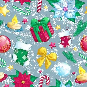 Modello senza saldatura con decorazioni natalizie. priorità bassa di inverno del nuovo anno.
