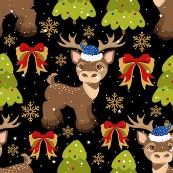 Modello senza cuciture con un cervo di natale su un bellissimo sfondo ed elementi festivi. stampa su tessuto, carta, cartoline, inviti.