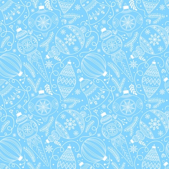 Modello senza cuciture con decorazioni di natale o capodanno, su sfondo azzurro.