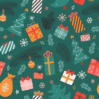 Modello senza cuciture con rami di regali di alberi di natale e fiocchi di neve su sfondo verde