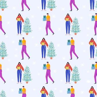 Modello senza saldatura con natale giovani belle persone e regali, albero di natale. regali sotto abete e fiocchi di neve