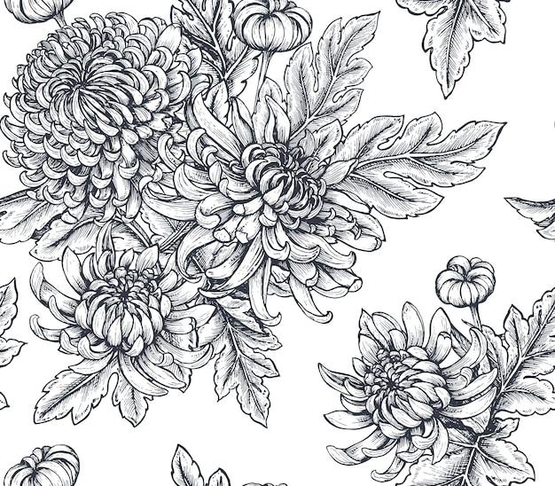 Seamless con fiori di crisantemo