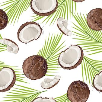 Modello senza cuciture con cocco e foglie di palma.