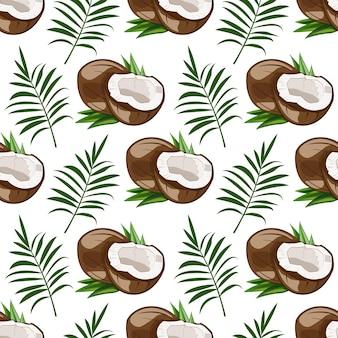 Modello senza cuciture con cocco e foglie di palma