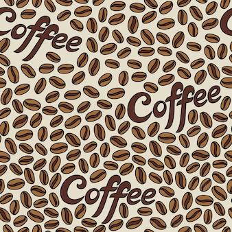 Modello senza cuciture con chicchi di caffè. può essere utilizzato per lo sfondo del desktop o la cornice per appendere a parete o poster, per riempimenti a motivo, trame di superfici, sfondi di pagine web, tessuti e altro