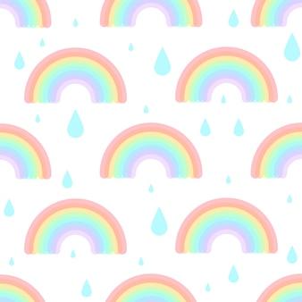 Modello senza cuciture con arcobaleno di vetro colorato e gocce di pioggia stampa per bambini per sfondo tessile in tessuto