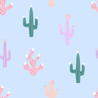 Modello senza cuciture con cactus colorati su uno sfondo colorato illustrazione vettoriale