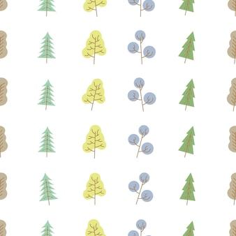 Modello senza cuciture con alberi colorati su sfondo bianco. illustrazione vettoriale.