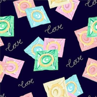 Modello senza cuciture con preservativi colorati su sfondo blu illustrazione vettoriale