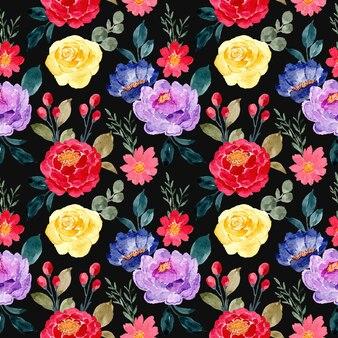 Modello senza cuciture con acquerello floreale colorato