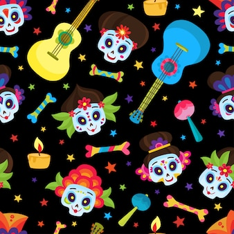 Modello senza cuciture con teschi colorati e stelle per il giorno dei morti o halloween, teschi di zucchero per il giorno messicano dei morti isolato sul nero in stile cartone animato.
