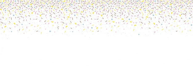 Modello senza saldatura con codette colorate. sfondo di ciambella glassa. illustrazione per i disegni delle vacanze, festa, compleanno, invito.
