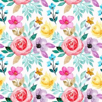 Modello senza saldatura con fiori colorati ad acquerello