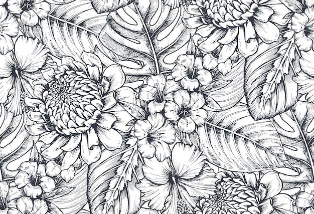 Seamless con composizioni di fiori tropicali disegnati a mano, foglie di palma, piante della giungla, bouquet paradiso. motivo floreale abbozzato in bianco e nero