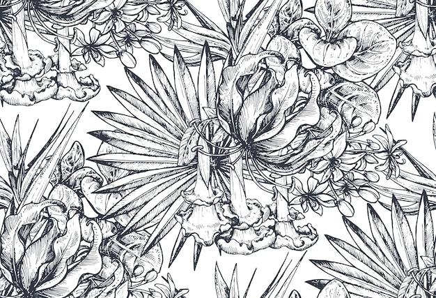 Modello senza cuciture con composizioni di fiori tropicali disegnati a mano, foglie di palma