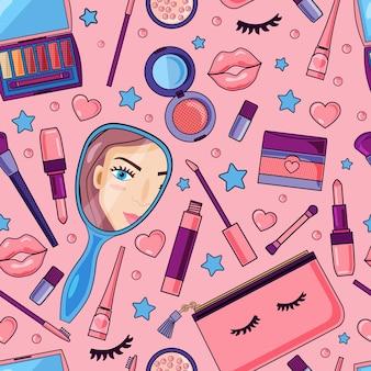 Modello senza saldatura con cosmetici in stile cartone animato. sfondo carino per un negozio di cosmetici, banner per un sito web. gli oggetti sono isolati.