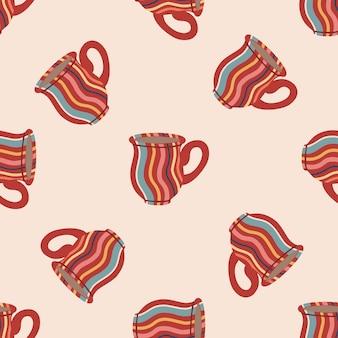 Modello senza cuciture con tazze e tazze simpatiche stoviglie in ceramica