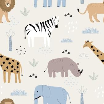 Modello senza cuciture con simpatici animali zebra giraffa rinoceronte ed elefante su uno sfondo colorato