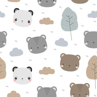 Modello senza cuciture con simpatico orso e testa di panda fumetto doodle