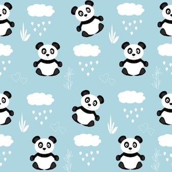Modello senza cuciture con simpatici panda neri e nuvole con pioggia